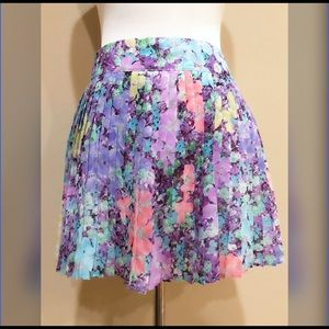 Aeropostale Floral Pleated Mini Skater Skirt XS